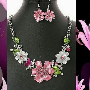 Jewelry - Pink and Green Flower Enamel Earring Necklace Set